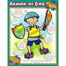 """Armor of God for Kids Chart. Reproducible worksheets on back, 17"""" x 22""""."""