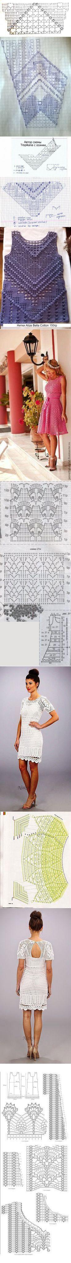 «Короткий топ крючком от Lauren Moffat».(схемы для вязания) | Филейное вязание | Связаные Крючком Платья, Вязание Крючком и Платья