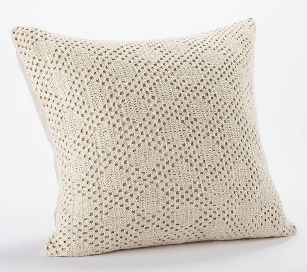 diamond crochet pillow indigo