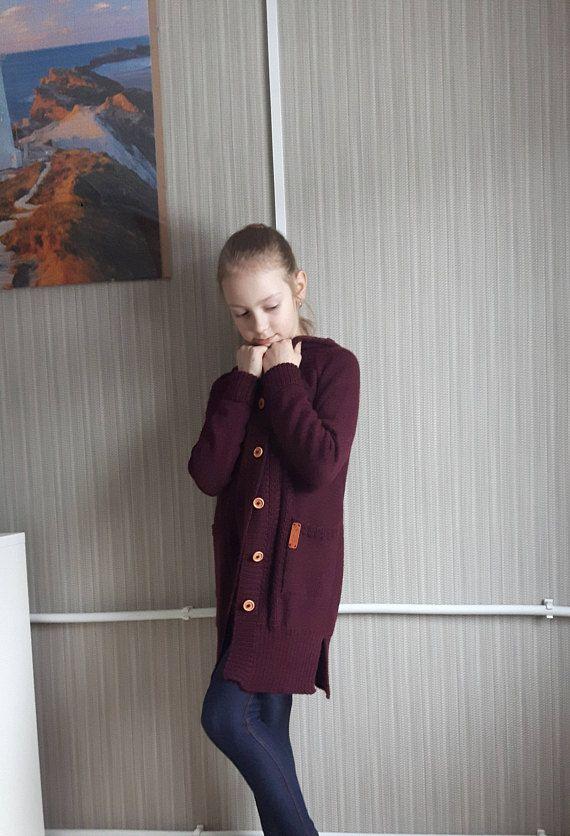 fcc41c0b0dd7 WOOL ALPACA knitted long cardigan for kid warm sweater with pockets ...