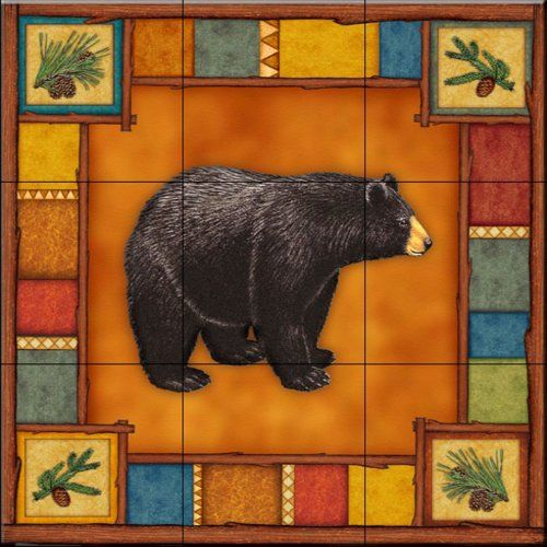 Ceramic Tile Mural - Wilderness Bear - by Dan Morris - Kitchen backsplash / Bathroom shower