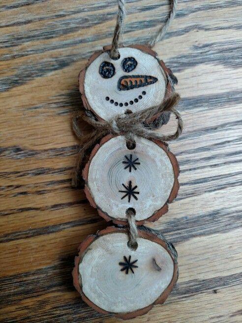 Rustic Snowman wood burned Christmas  ornament - natural wood