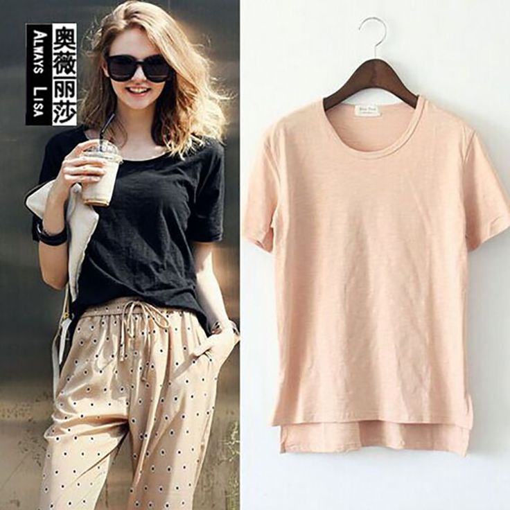 The Forest Department Of Bamboo Round Cotton Collar Short-sleeved Side Of The Fork Open Women's Loose Thin T-shirt