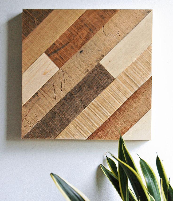 Diagonal Pattern Reclaimed Wood Wall Art 47