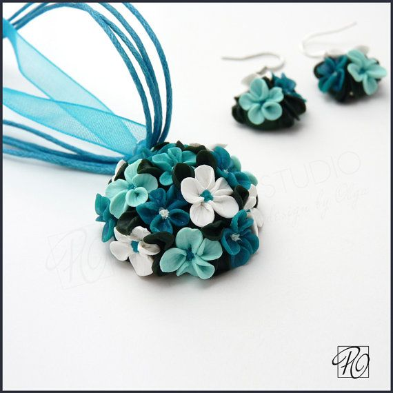 Polymer Clay Flower Necklace and Earrings Turquoise Teal - Polymer Clay Jewelry Set Tiny Flowers Teal Blue White Green. READY TO SHIP.