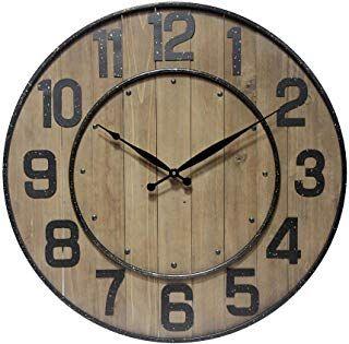 Infinity Instruments 23 Inch Large Wine Barrel Decorative Wall Clock Metal Wood Construction Standard Numbers Easy To Wine Barrel Wall Wall Clock Clock