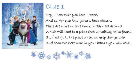 Make a memory, or an extra-special Birthday, by giving a child this indoor treasure hunt. The hiding locations of the clues are available in every home e.g. under a chair, and as each is found you and the child will re-live the Frozen story. A personalized version of this treasure hunt is also available where the childs name is mentioned through out the clues. Check out my shop, ChildrenIndoors for that and other treasure hunt clues.