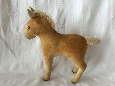 Un Pequeño Antiguo Raro 50s Vintage querida Steiff Terciopelo Potro/Pony.