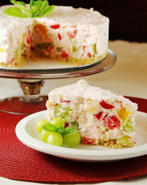 Fruit Salad Cheesecake ... a unique and delicious way to enjoy fruit salad! www.thekitchenismyplayground.com #fruit #fruitsalad #cheesecake