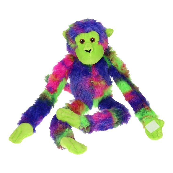 Beleef de leukste avonturen met deze paarse aap van pluche. Deze bontgekleurde knuffel heeft slungelige benen en armen met klittenband waardoor je hem de mafste houdingen geeft. Dankzij zijn zachte vachtje is het heerlijk om met deze aap te knuffelen.Afmeting:  lengte 47 cm - Knuffel Aap Pluche - Paars
