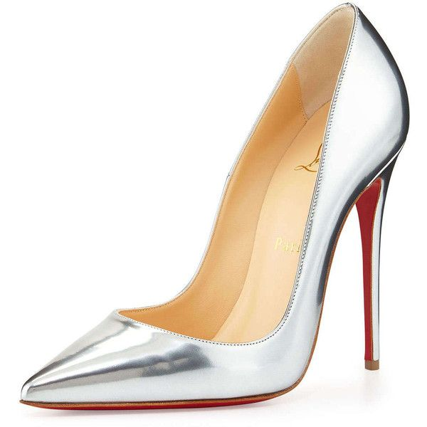 Christian Louboutin So Kate Metallic Red Sole Pump (£500) ❤ liked on Polyvore featuring shoes, pumps, heels, sapatos, christian louboutin, grey, metallic pointed toe pumps, pointy toe pumps, leather pointed toe pumps and leather shoes