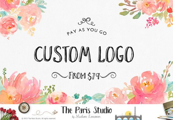 custom logo design watercolor logo floral logo by TheParisWife