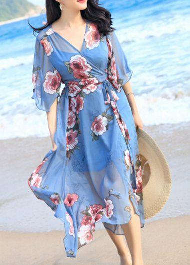 V Neck Flower Print Blue Maxi Dress on sale only US$36.79 now, buy cheap V Neck Flower Print Blue Maxi Dress at liligal.com