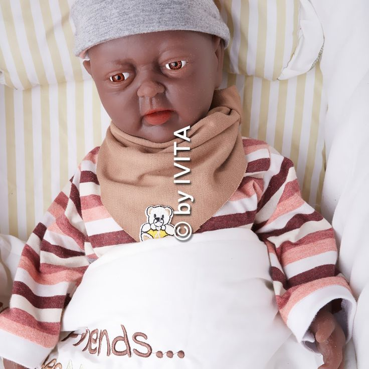 Ivita 18inch 3 2kg Girl Black Skin Eyes Closed High Quality Silicone Reborn Dolls Baby Born Full Body Alive Body Reborn Dolls Baby Born Dolls
