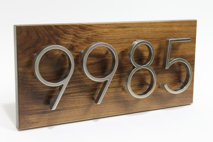 House Numbers, Contemporary,House Number Sign, Modern House Number, Wood address plaque, address numbers,Custom address sign, Walnut. $99.85, via Etsy.
