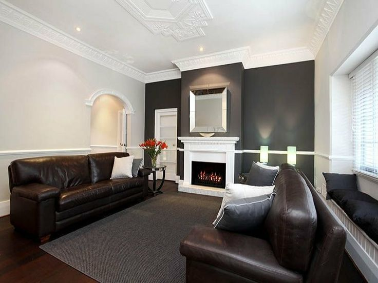 I like the dark wall with the white fireplace