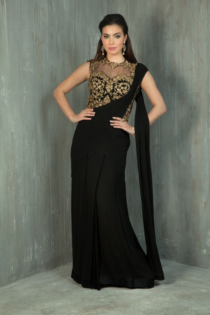 One piece georgette saree-gown embellished with zari and stone work