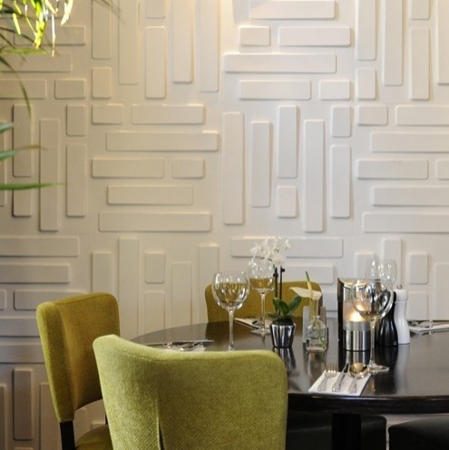 "3-D wallcovering ""Bricks"" from WallArt! Made from the fibrous residue of crushed sugarcane stalks called bagasse. 100% recycled, compostable and therefore 100% biodegradable. Wow."