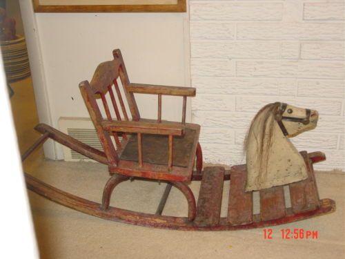 Antique Folk Art Childs Rocking Horse Chair Red Paint Horse Hair Mane Wood Craft Pinterest