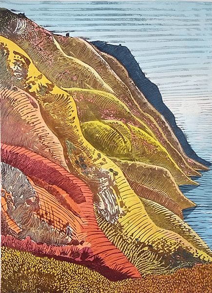'Burning Cliff 1' by English artist  printmaker Liz Somerville. 750 x 1100 mm. via the artist's site