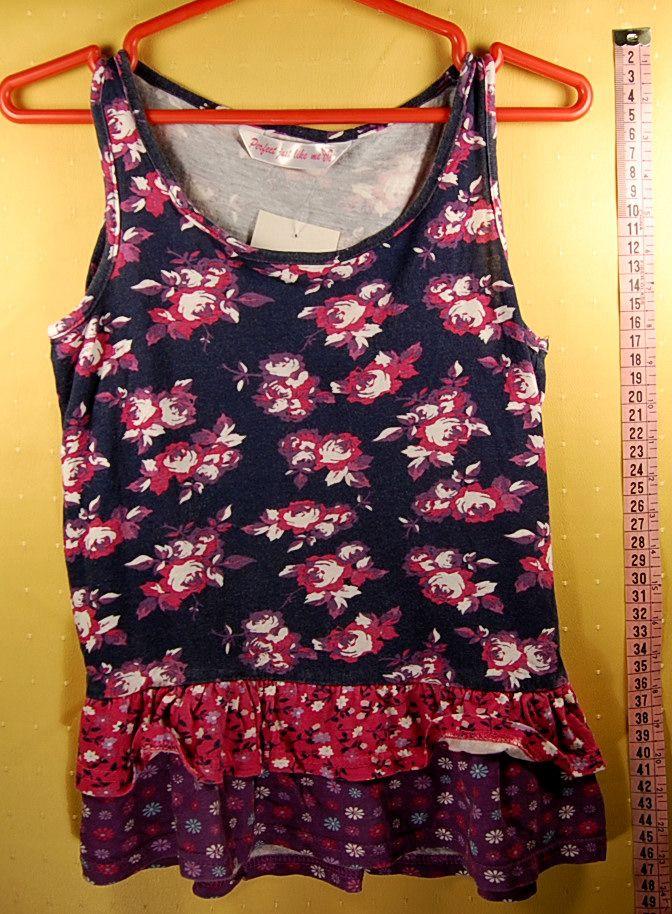 400 Ft.    Póló - kék-lila-rózsaszín, virág mintás, ujjatlan (Matalan)