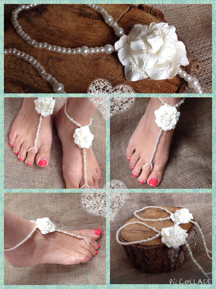 Lilly Dilly's Luxury Handmade Bespoke Barefoot Sandals. Perfect for overseas/destination weddings x #wedding #feet #pearls #flower #accessories #destination #overseas