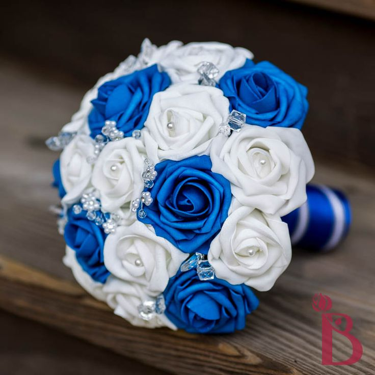 royal blue silver white wedding bouquet silk roses flowers crystals pearls