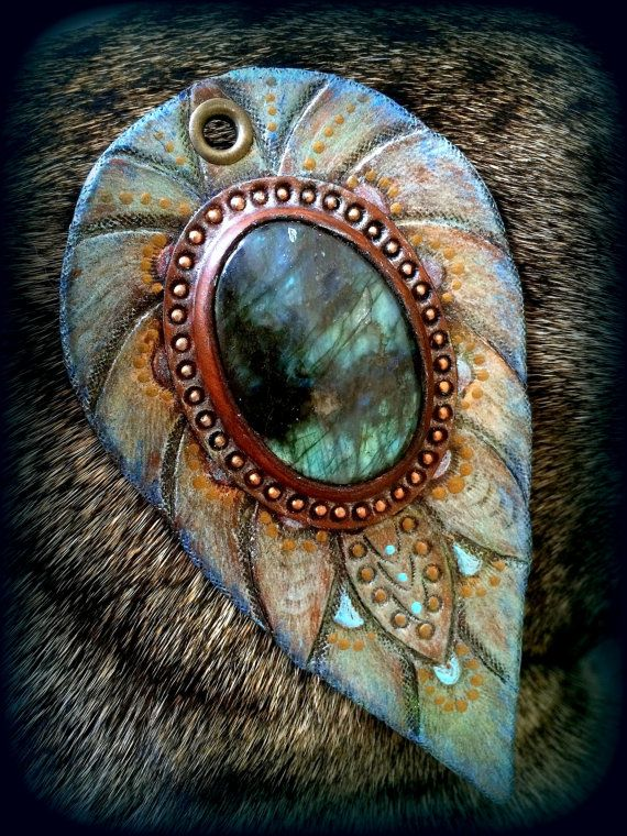 Hand tooled leather fantasy pendant with amazing blue fire labradorite cabochon and bronze chain - Artisan jewelry