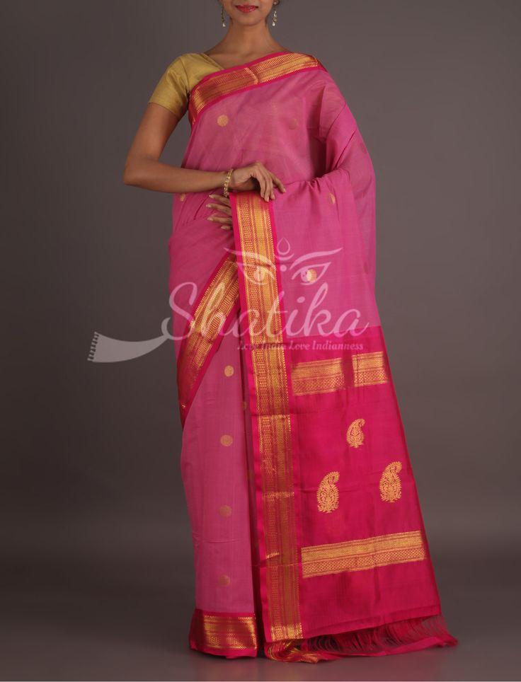 Sarayu Pink And Pink Festive Gadwal Pure Cotton Saree