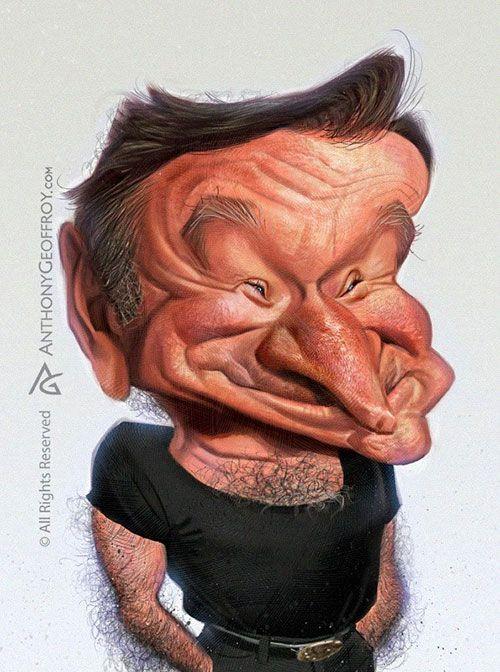 "Caricaturas de Famosos: ""Robin Williams"" por Anthony Geoffroy"
