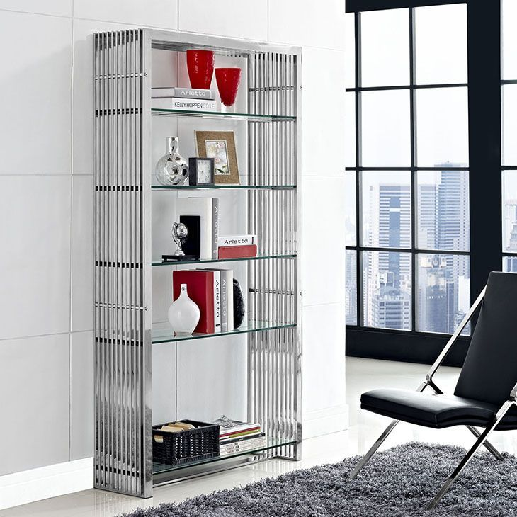 Gridiron Stainless Steel Bookshelf, Silver - The conduit design of this Gridiron series installment artfully blends stainless steel tubing with five tempered glass shelves. Modernism used to be about extremes. Wild shapes and patterns that don't dare resemble its predecessors. We've reached an age of maturity of sorts. We appreciate style, but all the more, we respect those designs that represent a blending of cultures. The Gridiron stainless steel shelving unit is famous not for its radical…