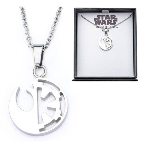 (affiliate link) Star Wars Rogue One Rebel Alliance and Galactic Empire Symbol Cut Out Stainless Steel Pendant Necklace