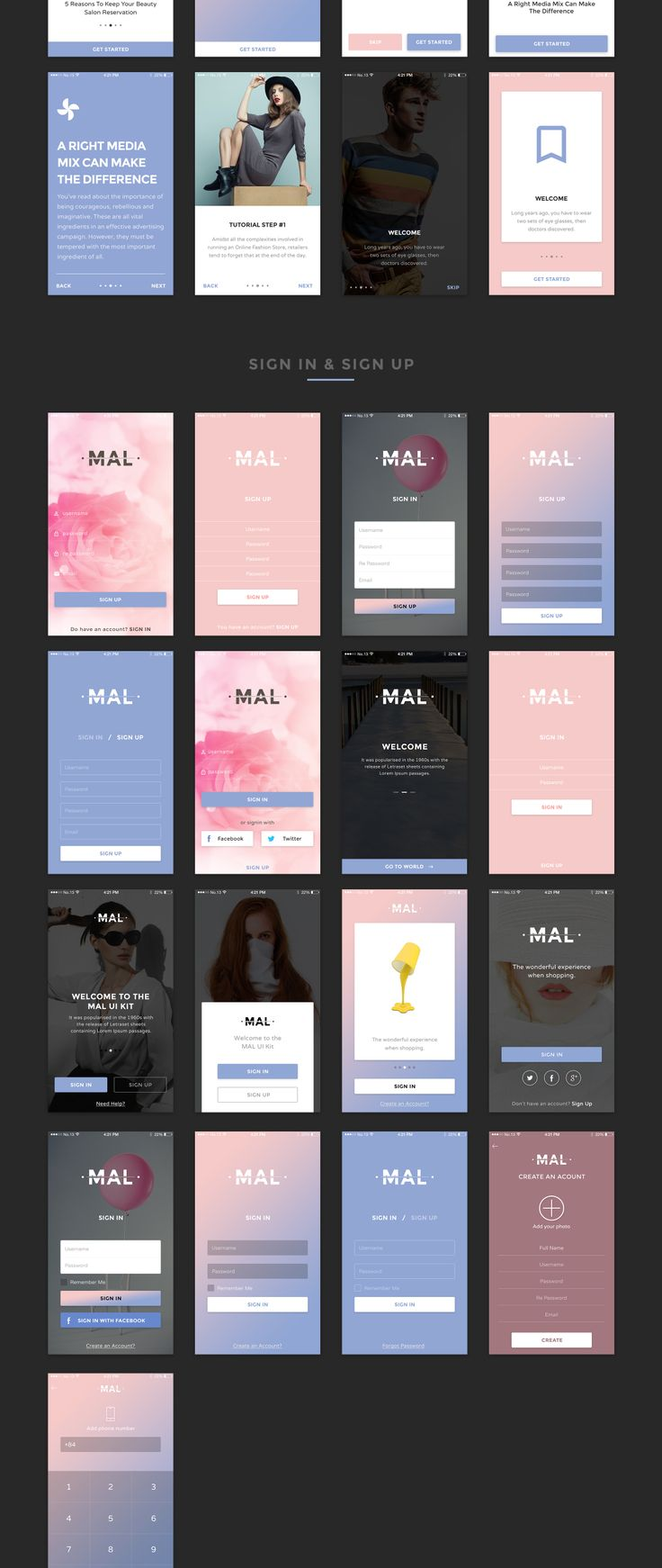 Mal UI KIT is a stylish, clean and huge UI Kit made to help with your designing or prototyping process. Each screen is fully customizable, easy to use and handcrafted with love in Sketch and Photoshop.