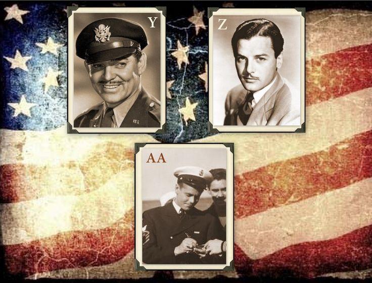 Famous Veterans  Y.     Clark Gable, Army Z.     Gig Young, Coast Guard AA.  Glenn Ford, Marines