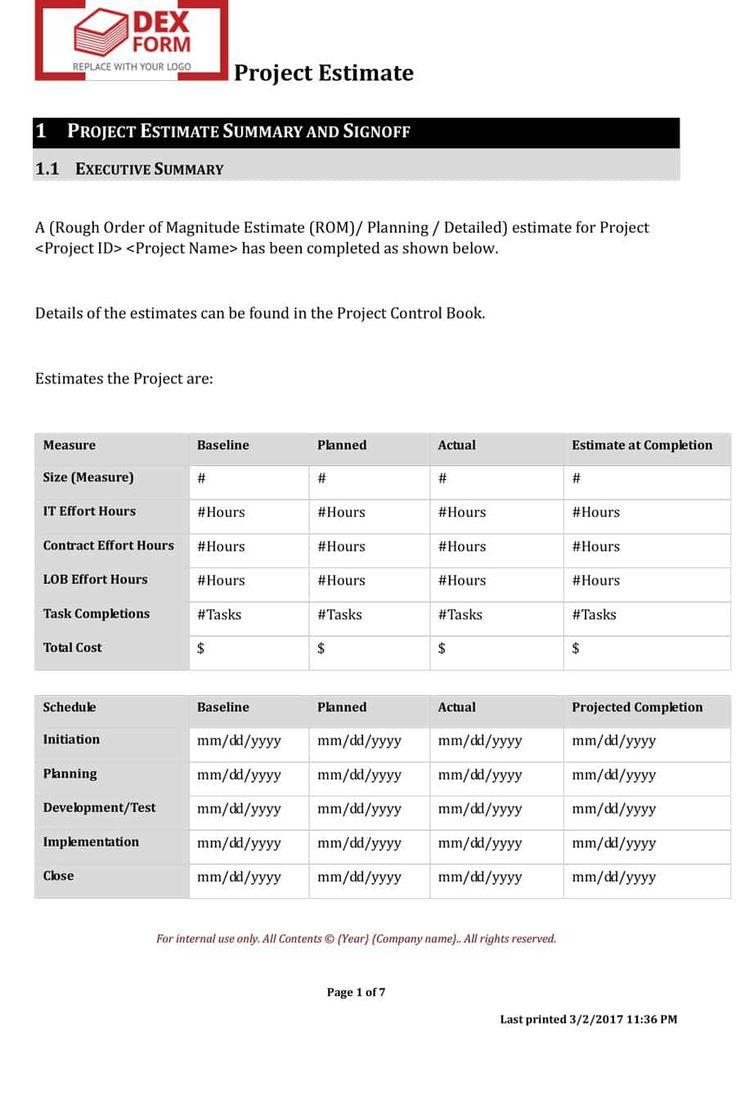 12 job estimate templates word excel pdf templates