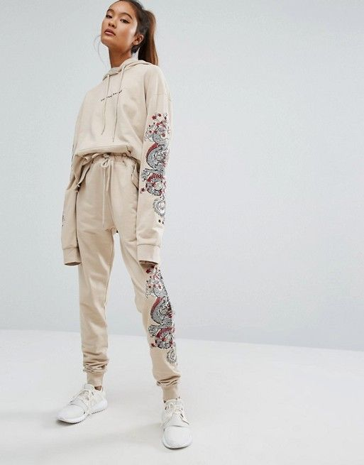Criminal Damage | Criminal Damage Baggy Sweatpants With Leg Embroidery Co-Ord