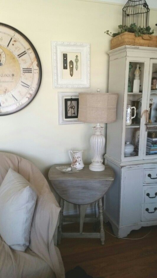 Vintage drop-leaf butterfly side table after in it's new spot.