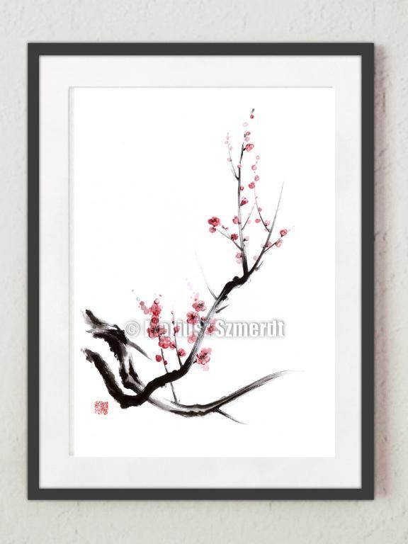Fototapeta sztuka japońska kwiaty wiśni plakat A5  #kwiaty_obrazy #japonia #plakaty