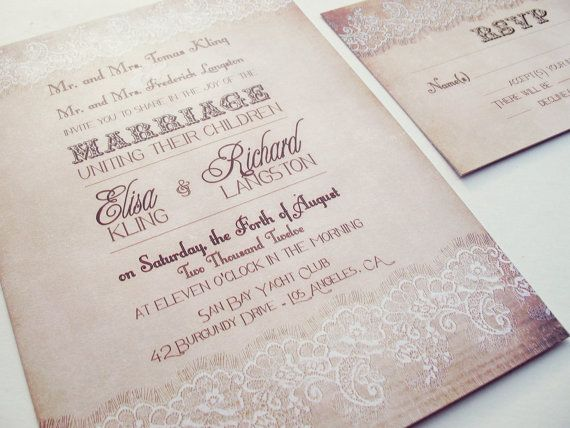 vintage lace rustic wedding invitation set by abandig on etsy - Rustic Wedding Invitation Kits