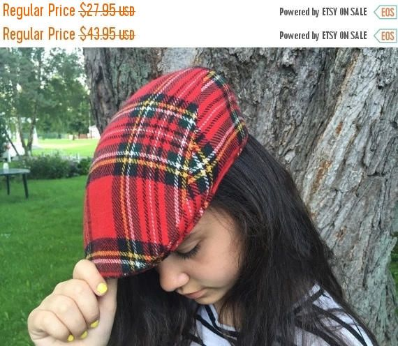 ON SALE Plaid Hat Unisex Autocap Scottish Hat red Plaid Tartan Driving Hat Made in Canads Size L unisex
