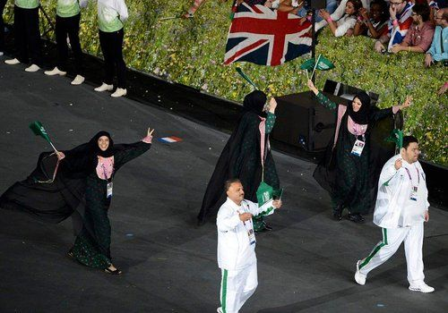 2012 Olympics: Saudi women walking proudly among the Olympic athletes for the