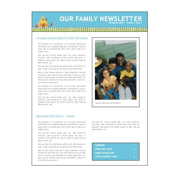Best Family Newsletter Ideas Images On   Newsletter