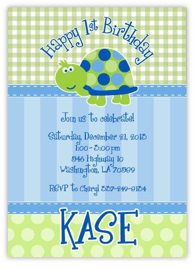 Cute Turtle First Birthday Boy Invitation