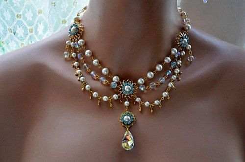 Bridal Gold Necklace,Swarovski Crystal and Pearl Necklace,Wedding GOLD Jewelry,Vintage Style,Victorian Style Necklace,ARIELIS