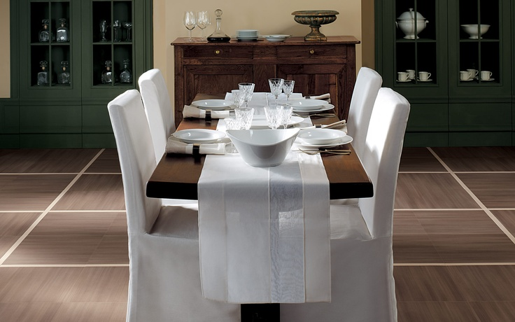 Collection: FAP Life / Tobacco   Tobacco-colored tiles and large, cream-colored grout lines give this dining room a warm, inviting character.