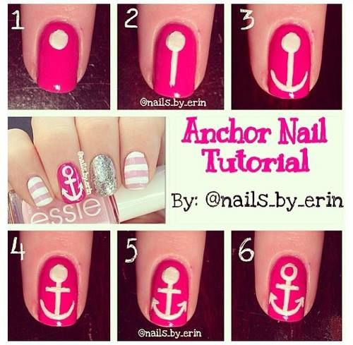 DIY anchor nail art tutorial  paint it black instead and im down: