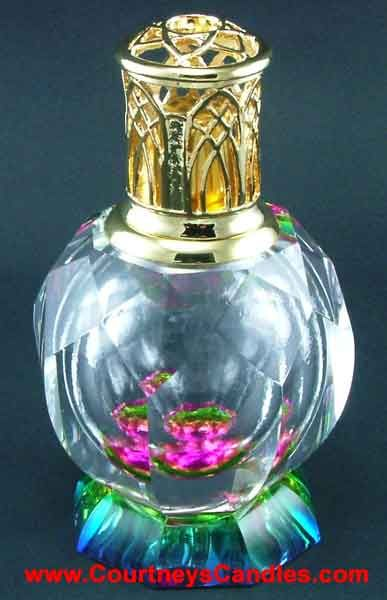 """Alexandria's Crystal Collection of Large Size Fragrance Lampes come in a beautiful wooden gift box and include: heavy Gold decorative cap snuffer cap funnel wick instruction booklet Dimensions are 6 1/2"""" tall by 4"""" diameter. Fragrance Lampe volume is about 4 ounces. FREE 16oz Bottle Lampe Oil .... SELECT YOUR FREE COURTNEYS BRAND 16 OZ FRAGRANCE OIL in the Pull Down Menu: SCROLL DOWN FOR SCENT DESCRIPTIONS"""