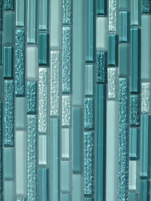 turquoise glass tilw | Aqua Horizontal Mosaic Glass Tile