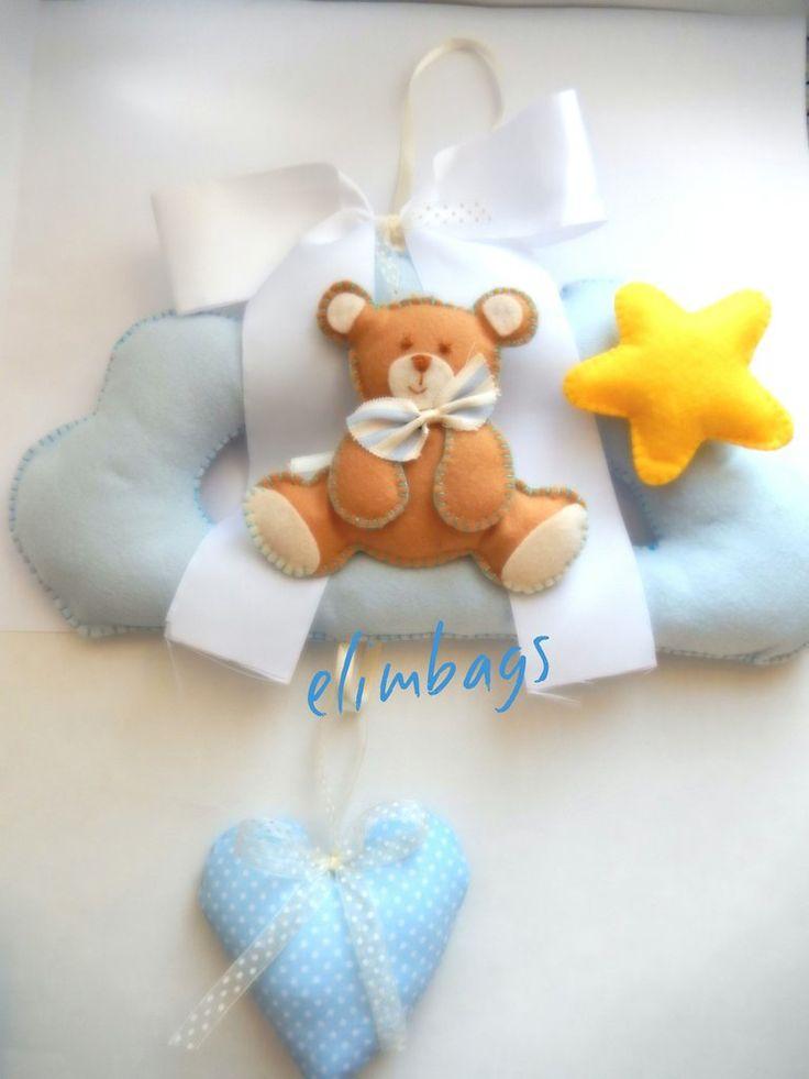Fiocco nascita maschio orsetto stellina e cuore di stoffa, by Elimybags, 38,00 € su misshobby.com