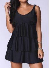 Layered V Neck Solid Black Swimdress on sale only US$27.70 now, buy cheap Layered V Neck Solid Black Swimdress at lulugal.com